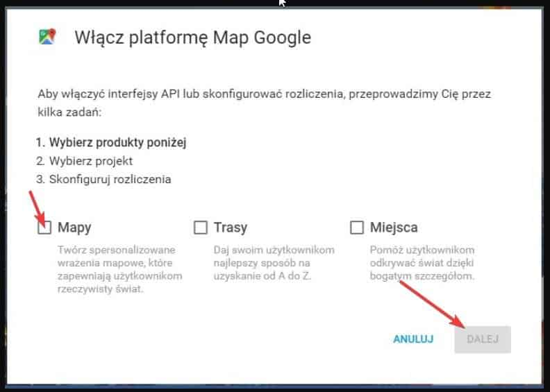 wybór produktu w panelu map google