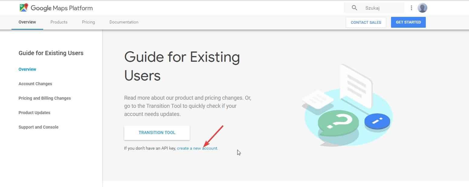 zakładanie nowego konta w google cloud platform