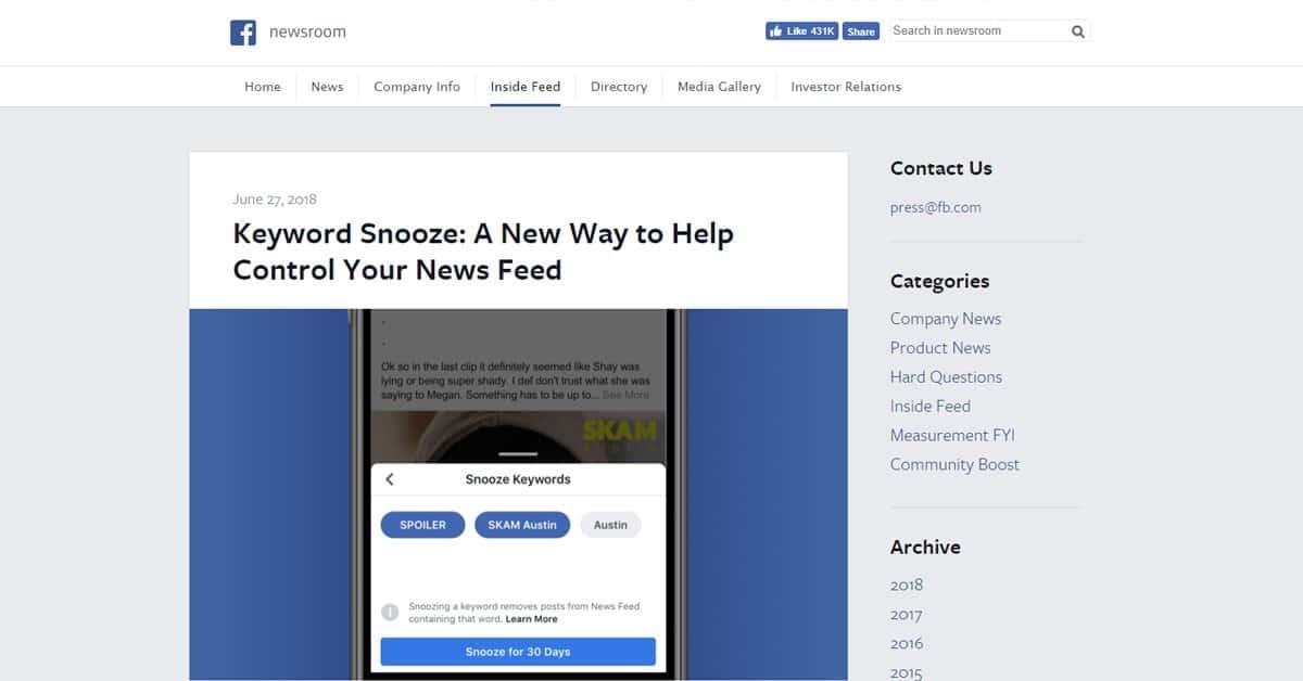 keyword snooze na facebooku