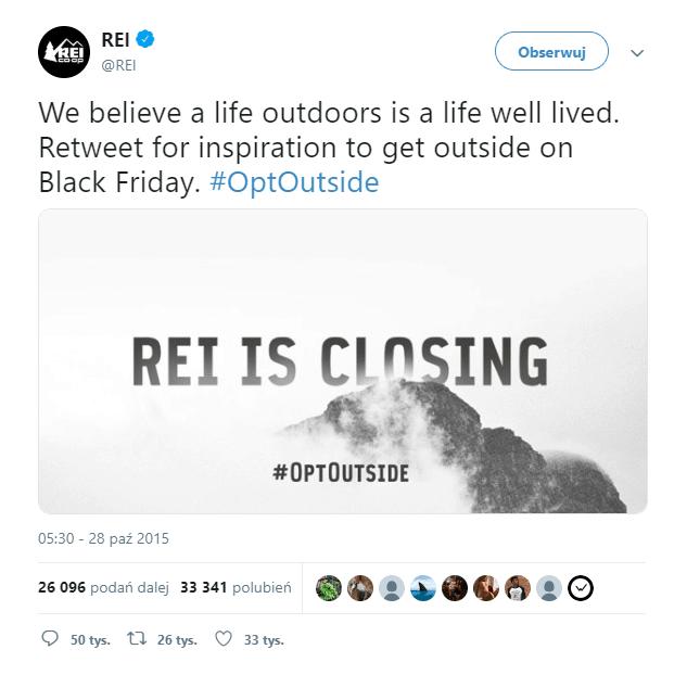 Post na Twitterze z okazji Czarnego Piątku - konto REI