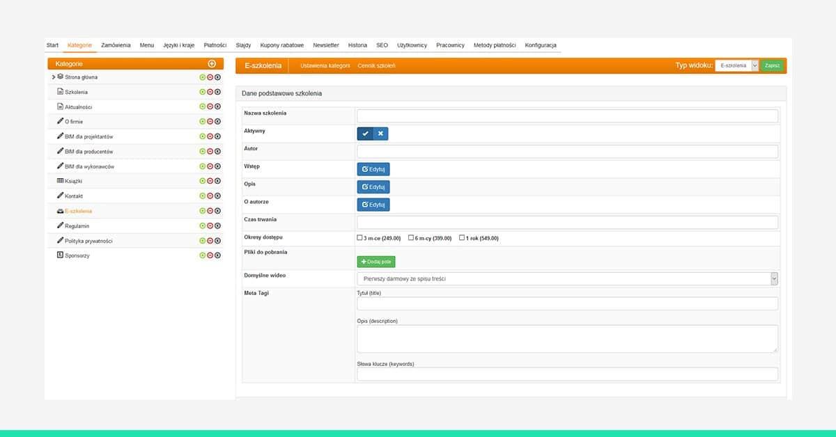 Moduł projektowania kursu w systemie video e-learningu CADach