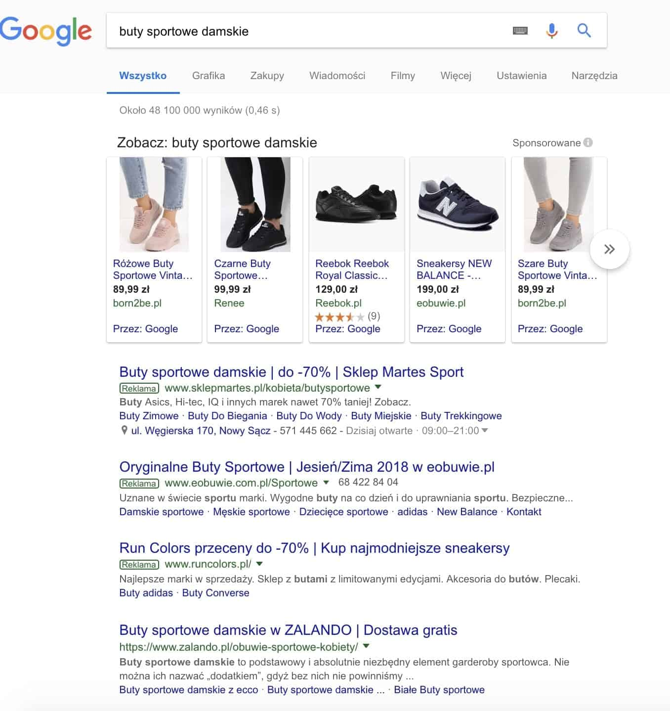 Wyniki wyszukiwania Google dla