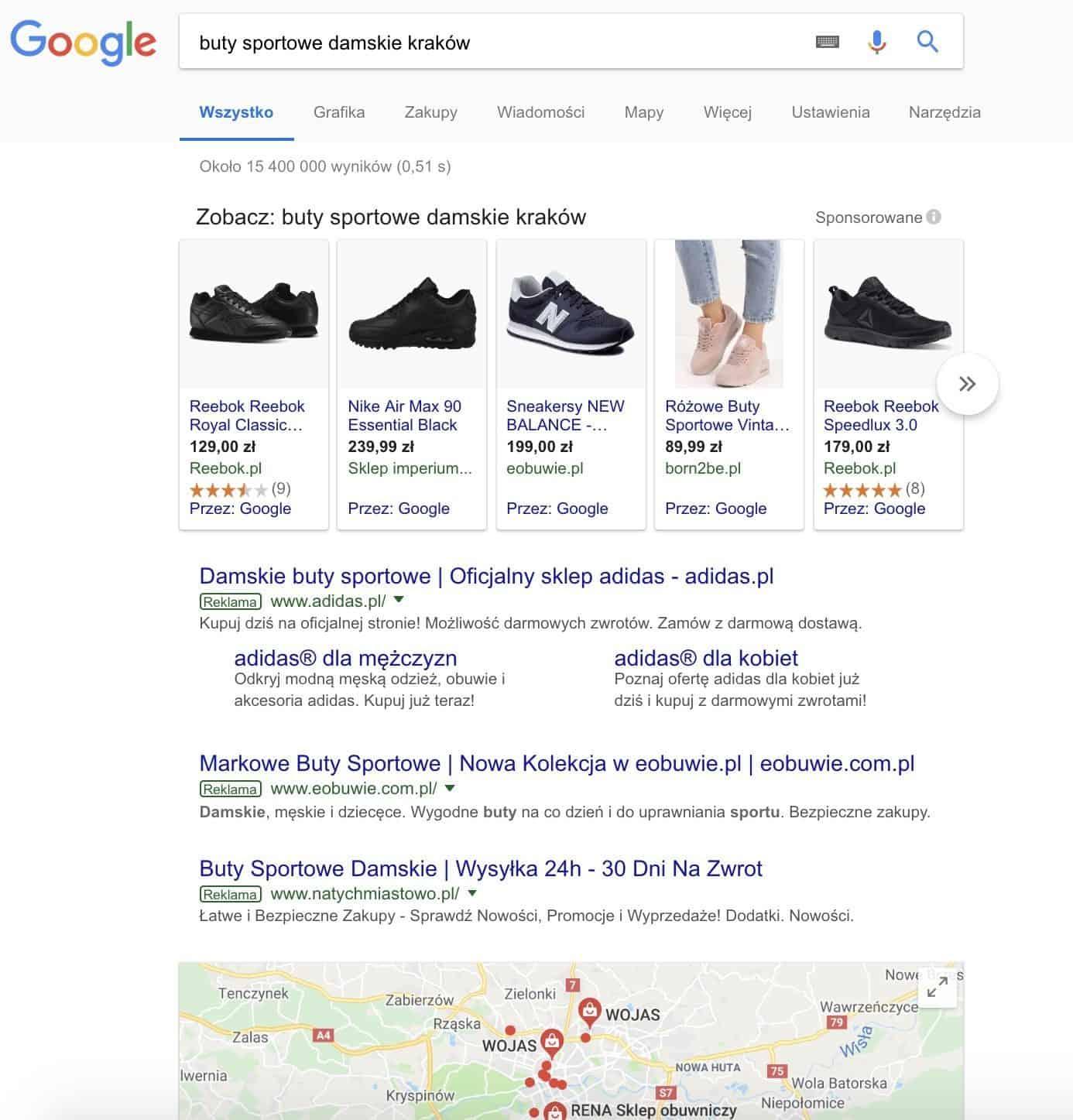 Wyniki wyszukiwania Google dla hasła buty sportowe Kraków