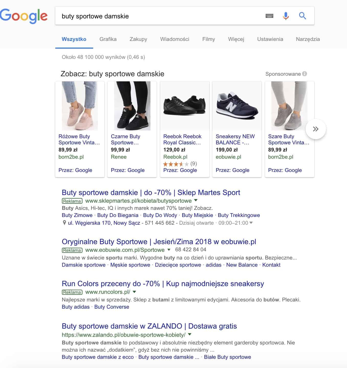 Wyniki wyszukiwania Google dla buty sportowe damskie