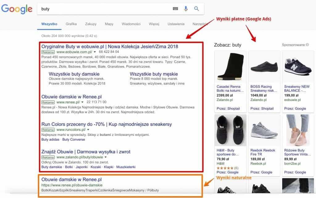 Wyniki wyszukiwania Google dla zapytania