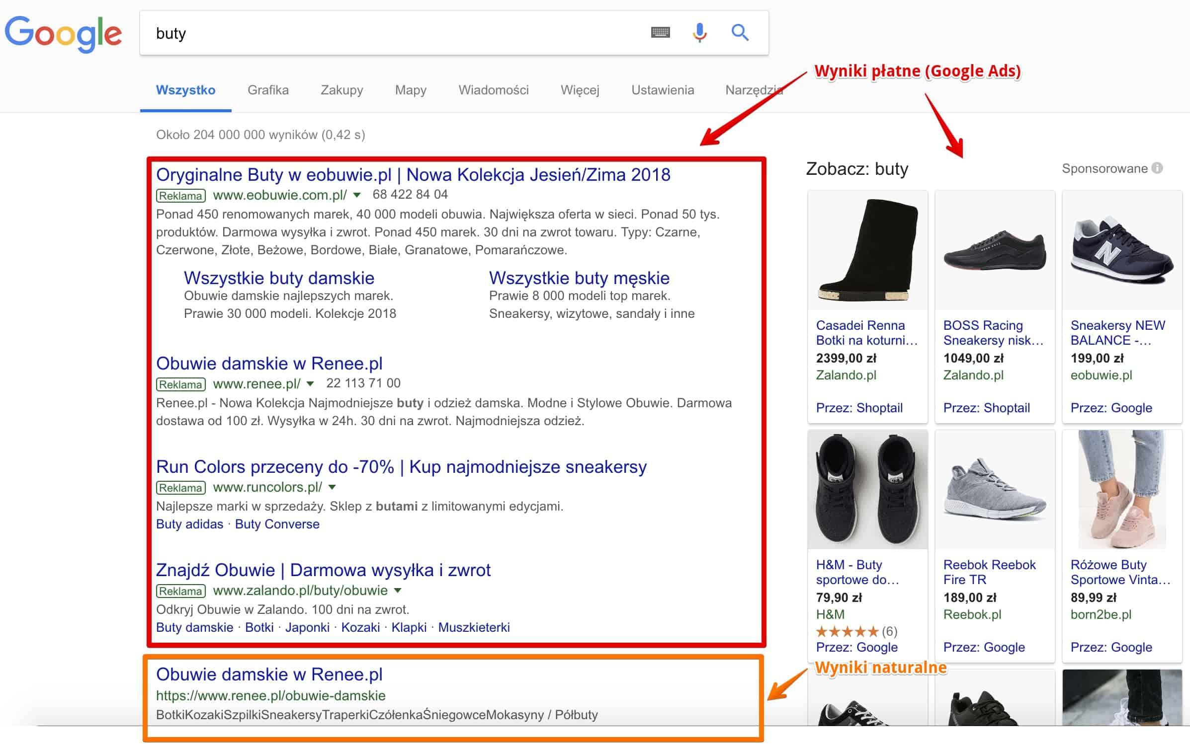 Wyniki wyszukiwania Google dla zapytania o buty