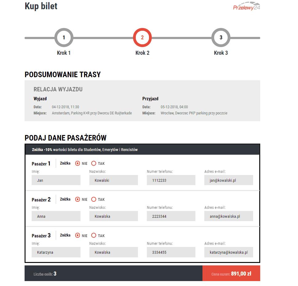 moduł danych o pasażerach