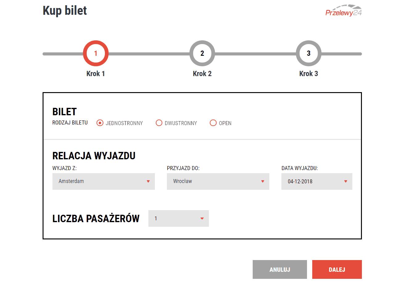 moduł wyboru biletu