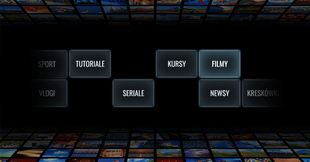 Infografika z rodzajami treści w platformach video-on-demand