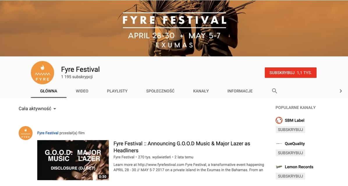Profil Fyre Festival na Youtubie