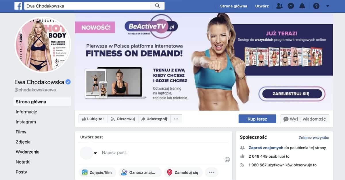 Profil Ewa Chodakowska na Facebooku