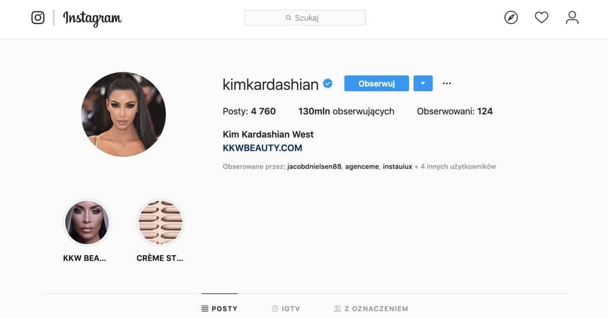 Profil Kim Kardashian na Instagramie