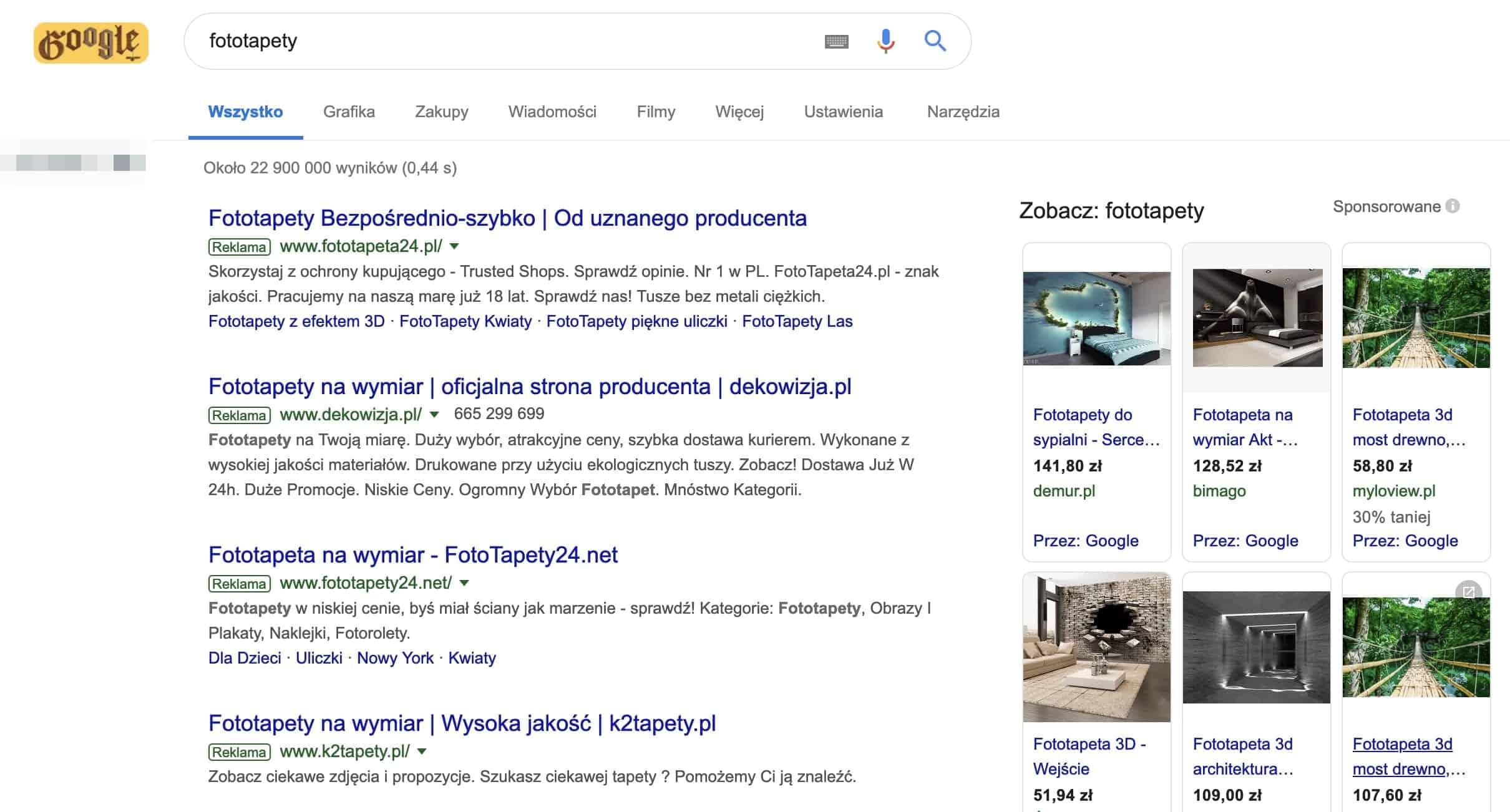 Wyniki wyszukiwania Google dla frazy - fototapety