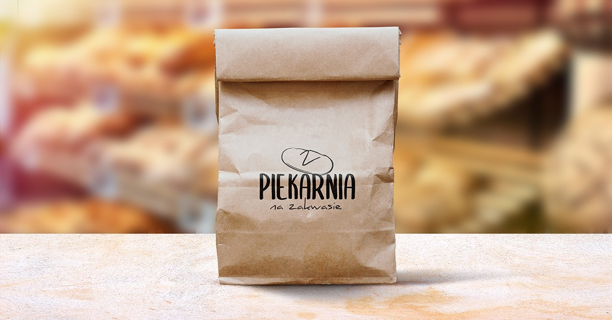 torba papierowa z logiem piekarni na zakwasie