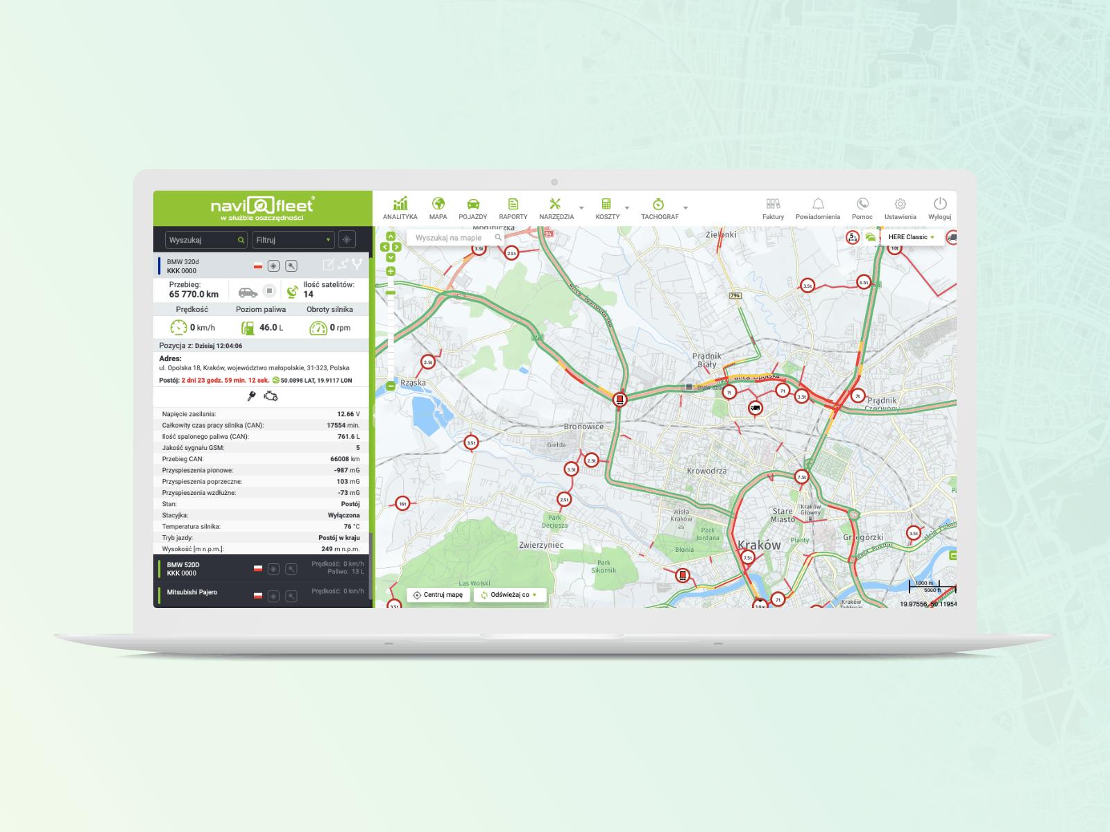 widok mapy na desktopie