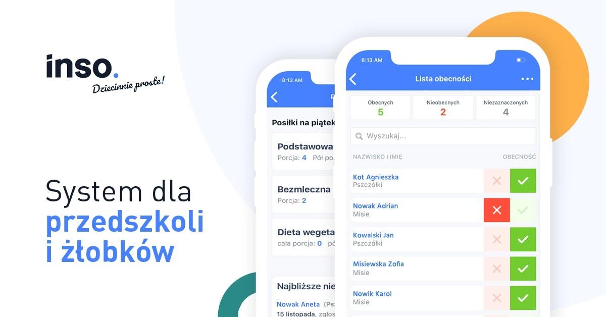 aplikacja dla przedszkoli i żłobków INSO